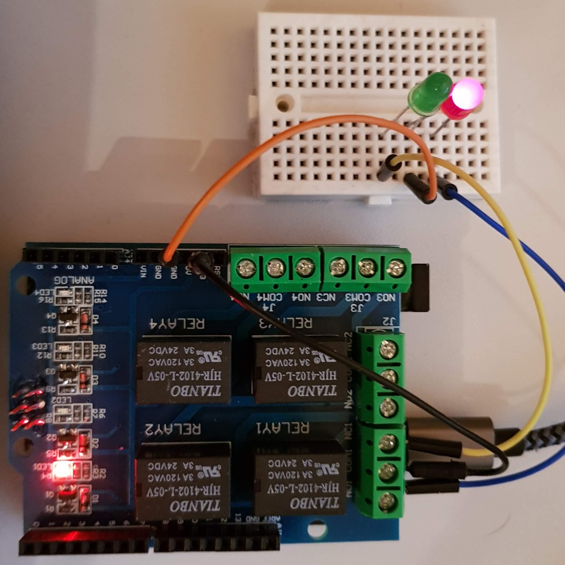 Arduino 4 Relay Platine Testaufbau