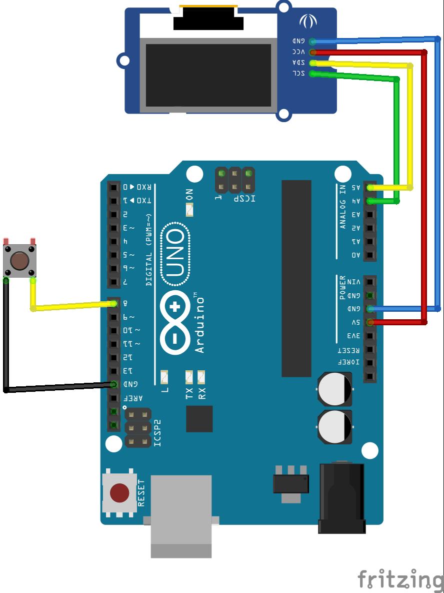 Verdrahtung Arduino Uno mit einem Display und einem Taster