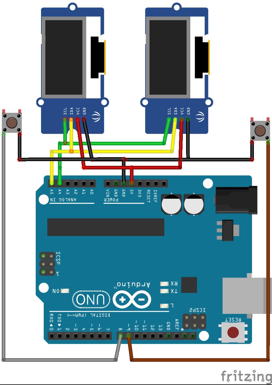 Arduino mit zwei Displays und zwei Schaltern