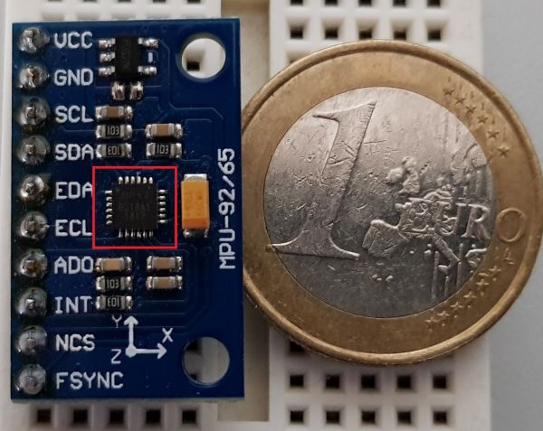 MPU GY 9250 - Sensor rot markiert