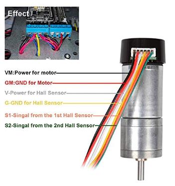 Anschlüsse Motor mit Hal Sensor